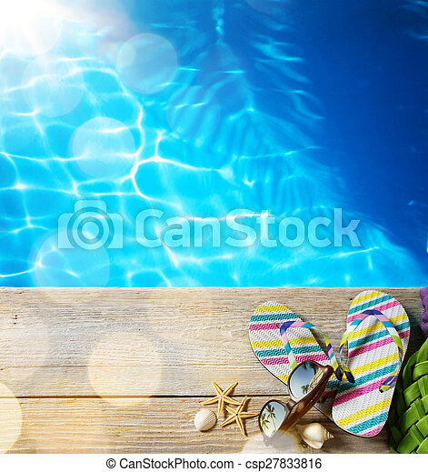 sommer,  ar, sandstrand, accessoirs - csp27833816
