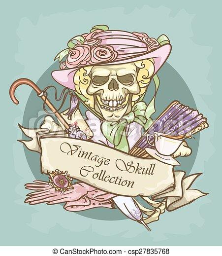 Victorian Era Skull Label - csp27835768