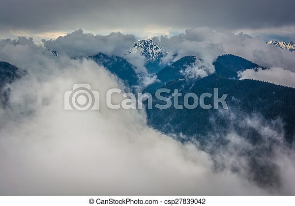 View of the snowy Olympic Mountains and low clouds from Hurricane Ridge, in Olympic National Park, Washington.