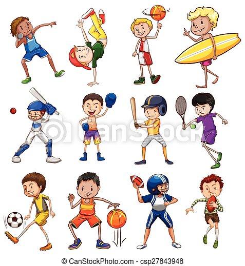 vecteur eps de sport children jouer diiferent types de sports csp27843948. Black Bedroom Furniture Sets. Home Design Ideas