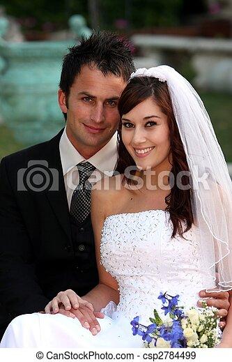 vacker, par, bröllop - csp2784499
