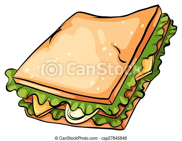 EPS Vector of Delicious sandwich with lettuce - One ...