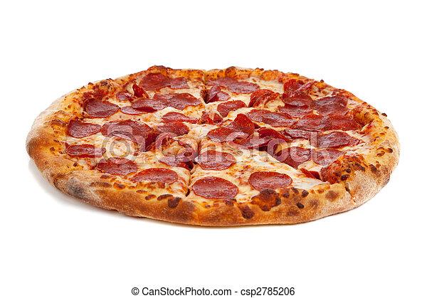 Pepperoni pizza on white - csp2785206
