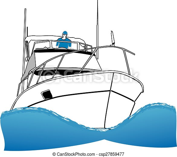 Vectors Illustration of Offshore Sport Fishing Boat - Simple line drawing of ocean ...