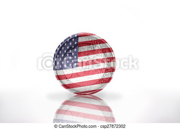 euro coin with american flag on the white background - csp27872302