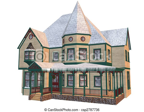 of Victorian winter house - 3D rendered victorian winter house ...