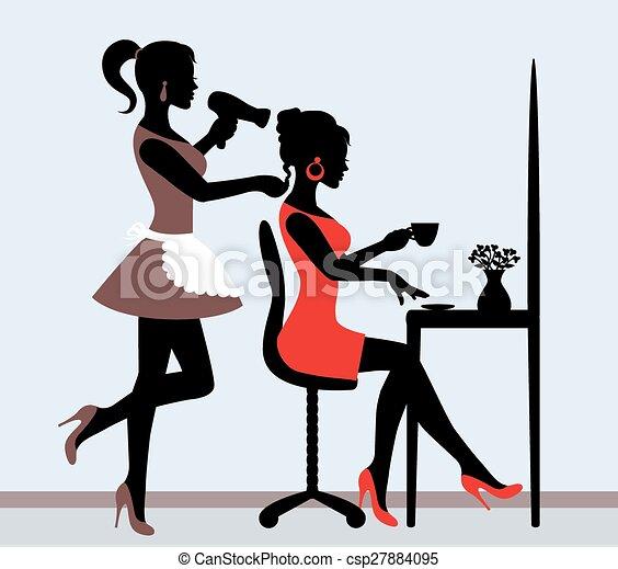 Vecteurs eps de salon coiffure femme silhouette dans - Dessin saloon ...