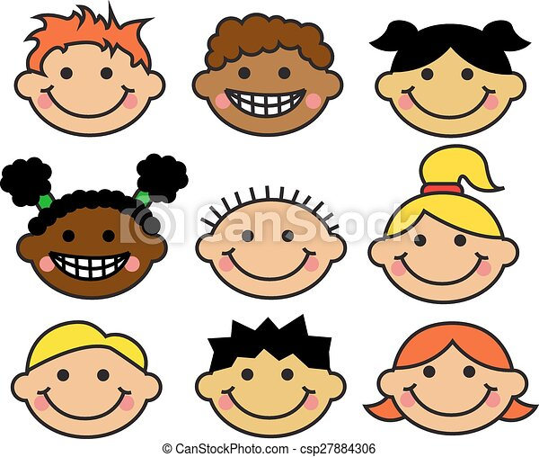 Clip Art of children's faces - artwork. ink and pencils on paper ...