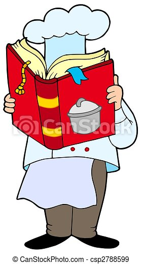Chef reading cookery book - csp2788599