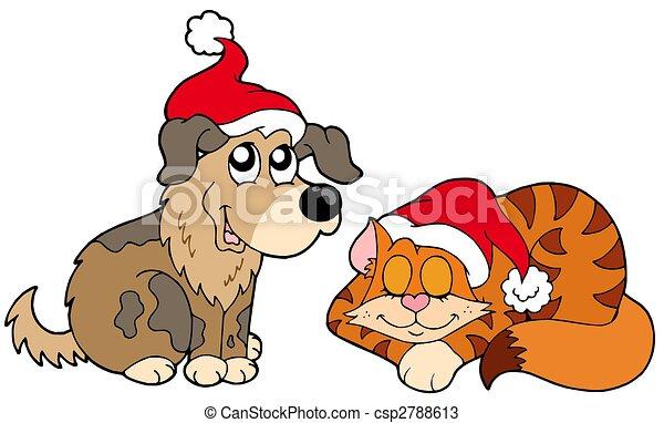 Stock de Ilustraciones , gato, perro, navidad