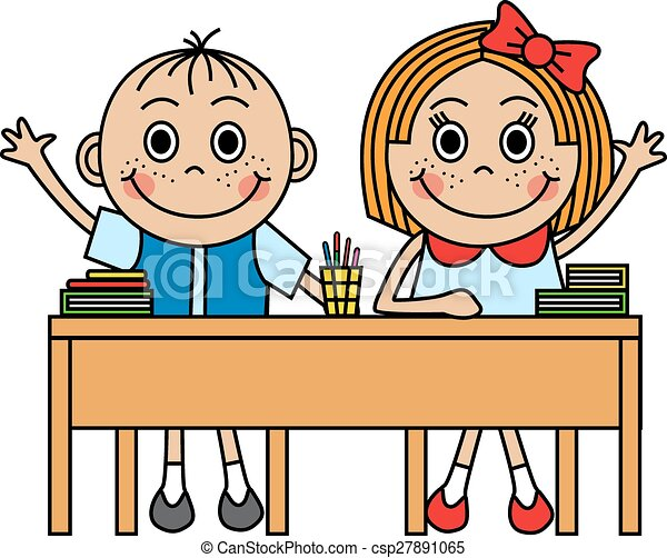 Clip Art Vector Of Cartoon Children Sitting At School Desk