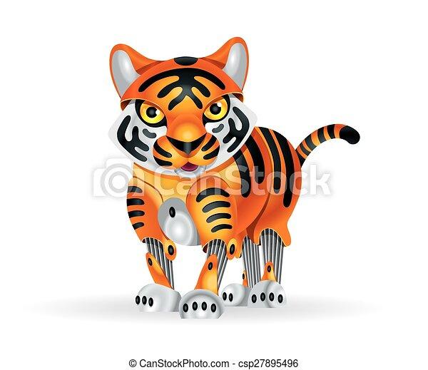 EPS vectores de tigre robot cachorro  Illustration de lindo