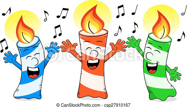 Clip Art Vector of cartoon birthday candles singing a birthday ...