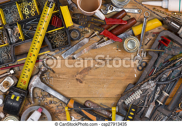Untidy Workbench - Old Tools - Space for Text