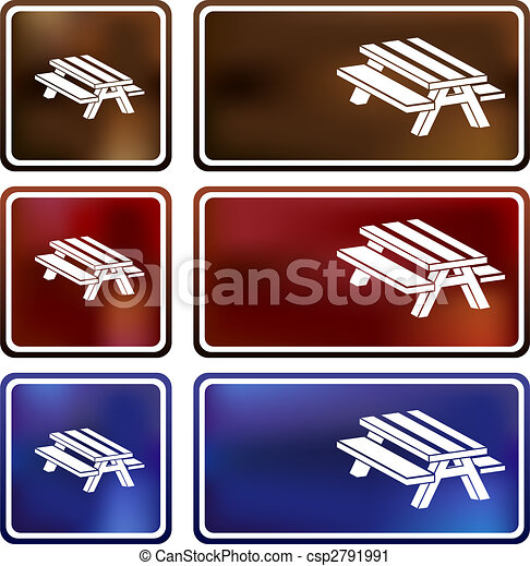 Vector Clip Art of Picnic Table Cloud Icon - Picnic table cloud icon ...