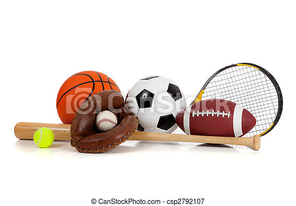Assorted sports equipment on white - csp2792107