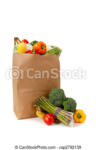 Brown grocery sack full of vegetables on white - csp2792139