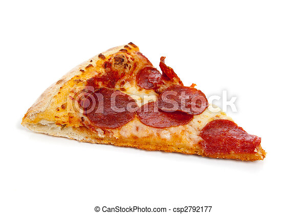 A slice of Pepperoni pizza on white - csp2792177