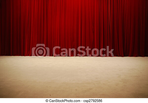Red draped theater stage curtains - csp2792586