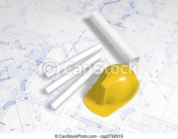 hard hat and blueprint - csp2792919
