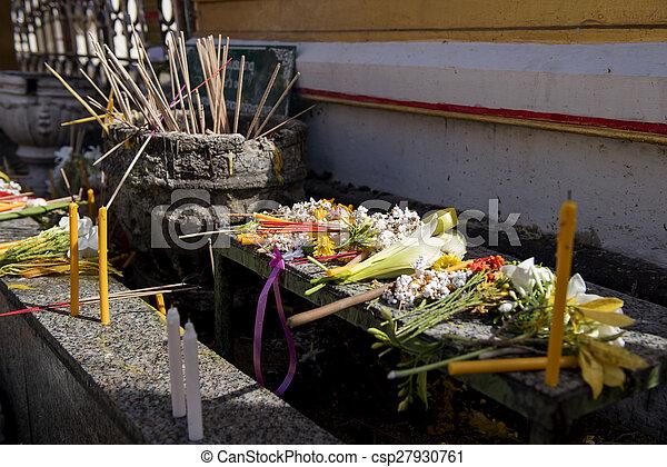 Buddhist people put the flower