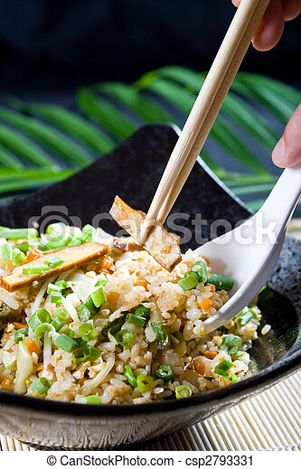 eating chinese fry rice - csp2793331
