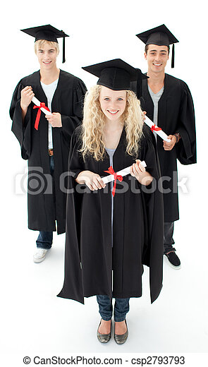 Group of adolescents celebrating after Graduation - csp2793793