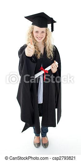 Teenage Girl Celebrating Graduation with thumbs up - csp2793821