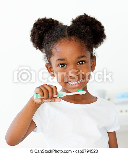 Portrait of an Afro-american girl brushing her teeth - csp2794520