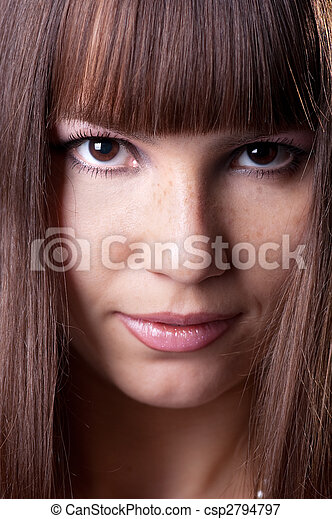 close-up portrait of beautiful brunette . - csp2794797