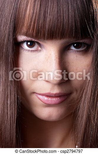 close-up portrait of beautiful brunette . - csp2794797