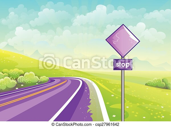 EPS Vector of Summer illustration road among fields and sign at ...