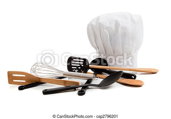 Chef's toque with various cooking utensils on white - csp2796201