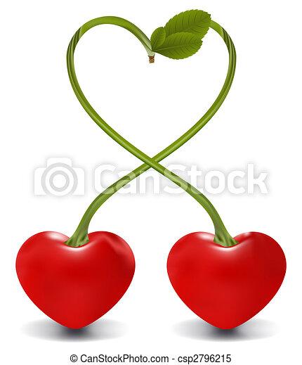 Illustrations de cerise raster coeur raster cerise - Cerise dessin ...