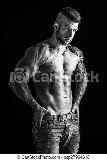 foto, -, muscular, retrato de medio cuerpo, negro, blanco, hombre - csp27964618
