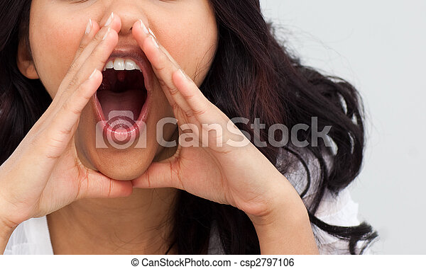 Portrait of a businesswoman yelling in the office - csp2797106