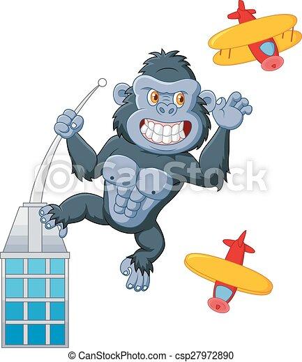 Cartoon gorilla above the building - csp27972890