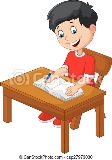 Boy Writing Stock Images