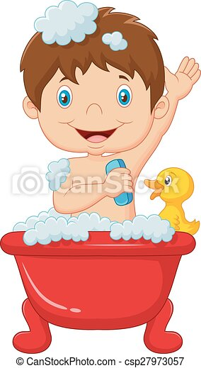 Vecteur Clipart de dessin animé, enfant, Prendre, bain - vecteur ...