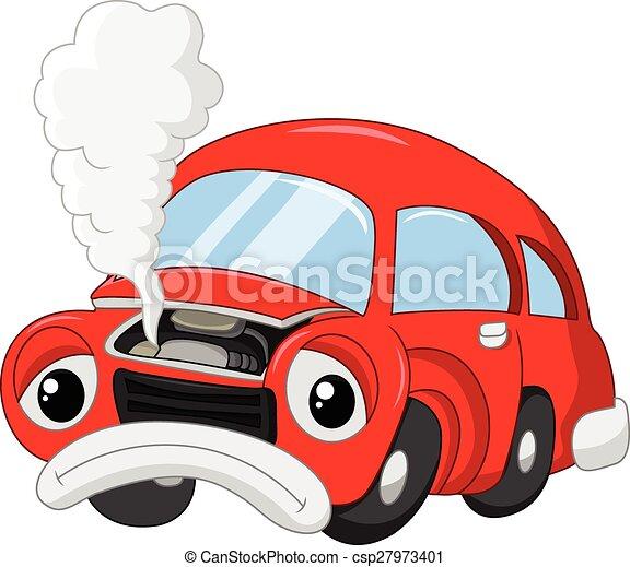 The cartoon car damage so that smok - csp27973401