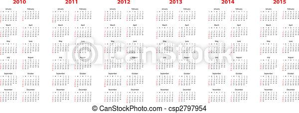 calendar for 2010 through 2015 - csp2797954