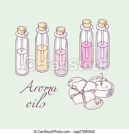 EPS Vector of Aromatherapy oils for spa hand drawn vector ...