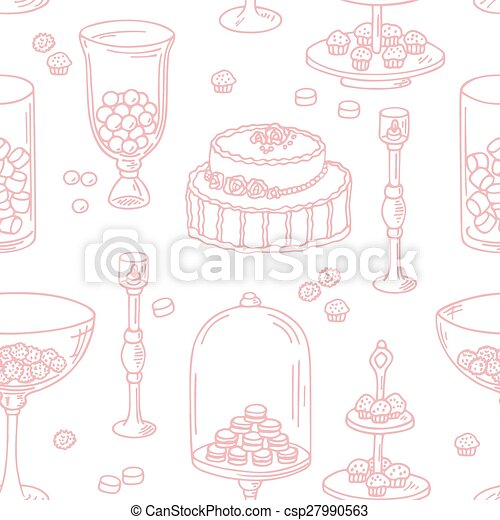 Clip Art Vector of Seamless pattern with outline style candy bar ...