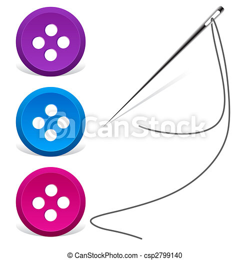 sewing needle and thread with buttons - vector - csp2799140