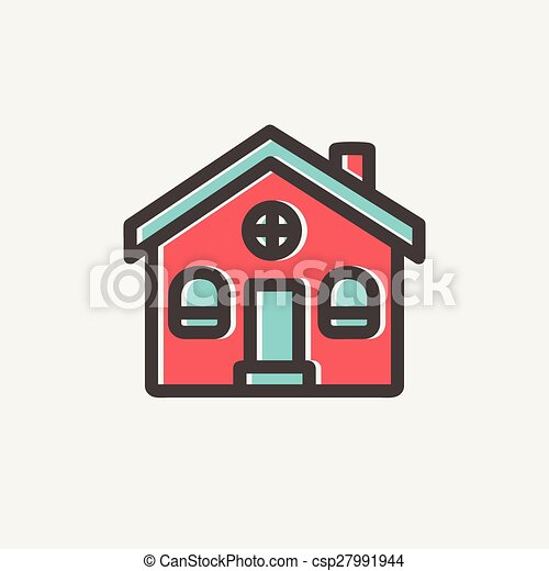 EPS Vector of Church building thin line icon - Church building icon ...