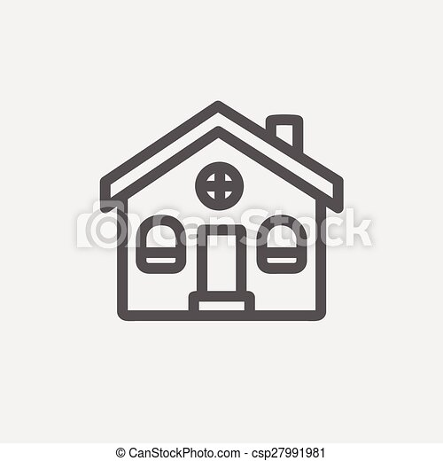 Vector of Church building thin line icon - Church building icon thin ...