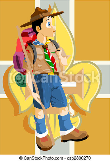 Vector Clipart of Boy scout with Fleur-de-Lis - Boy scout ...