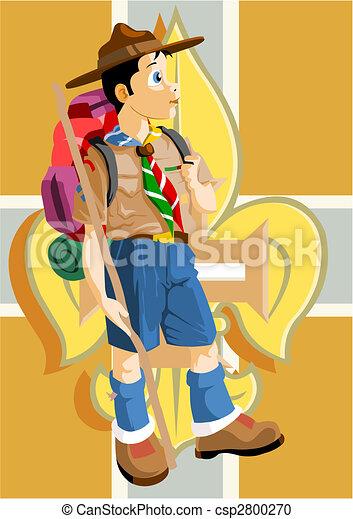 Boy scout with Fleur-de-Lis - csp2800270