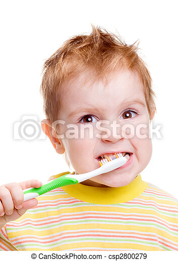 Little child with dental toothbrush brushing teeth - csp2800279