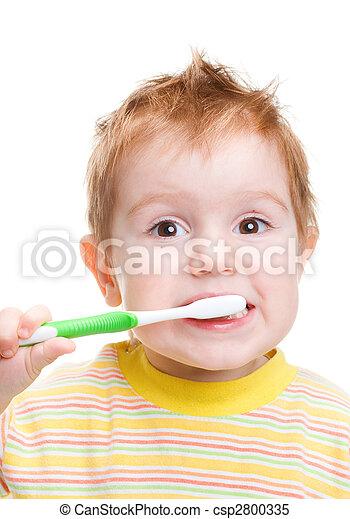 Spazzolatura, poco, denti, isolato, dentale, spazzolino, bambino - csp2800335